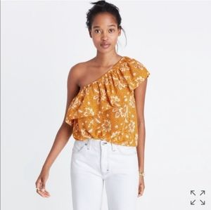NWT Madewell Silk One-Shoulder Top